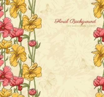 Cute Vintage HandDrawn Flowers Vector 03