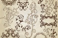 Set of Vintage Vector Floral Pattern Borders and Frames 02