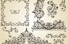 Set of Vintage Vector Floral Pattern Borders and Frames 03
