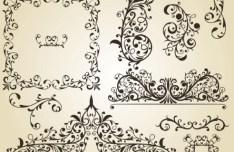 Set of Vintage Vector Floral Pattern Borders and Frames 03
