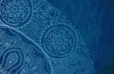 Vintage Blue Florals Pattern Background Vector 01