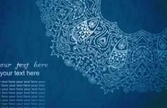 Vintage Blue Florals Pattern Background Vector 02