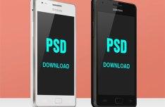 Black and White Samsung Galaxy S2 Mockups PSD