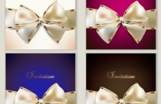 Set of Noble Invitation Cards with Bows Vector