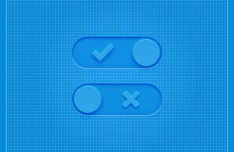 Blue 3D Switch Buttons PSD