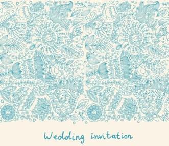 Hand Drawn Wedding Invitation Card Design Template 02