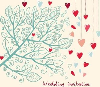 Hand Drawn Wedding Invitation Card Design Template 04
