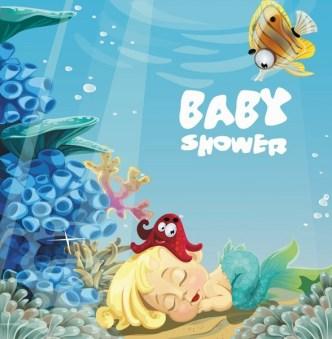 Cute Cartoon Marine Background Vector 01