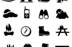 Dark Outdoors Icon Set Vector