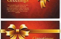 Vector Elegant Greeting Card with Bows Design Materials 01