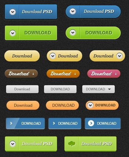 Clean Web Download Buttons PSD