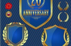 Set of Vector Anniversary Emblem sticker Labels and Tags 03
