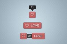 Love & Like Web Buttons PSD
