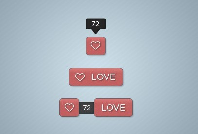 Love & Like Web Buttons PSD