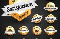 Set Of Golden Customer Satisfaction Guaranteed Sales Badges and Tags Vector