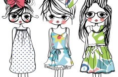 Vector Hand Drawn Trend Girls