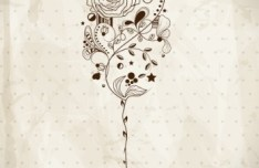 Vintage Hand Drawn Wine Glass with Butterfly