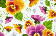 Retro Flowers Vector Illustration 04