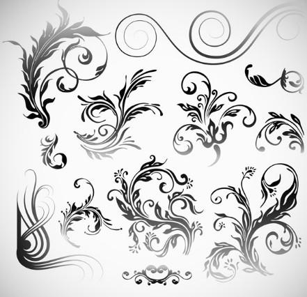 Set Of Black Patterns Design Vector Illustration 02