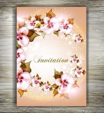 Beautiful Floral Wedding Invitation Card Design Vector 02