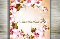 Beautiful Floral Wedding Invitation Card Design Vector 02