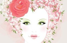 Fashion Floral Hairstyle Vector Girl 03