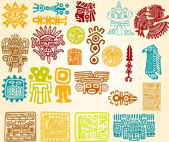 Set Of Colored Vector Totem Patterns 01