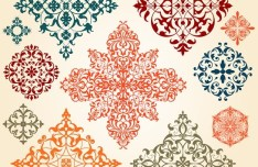 Set Of Colored Vector Totem Patterns 03