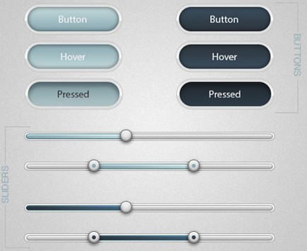 Soft Web Buttons and Sliders PSD