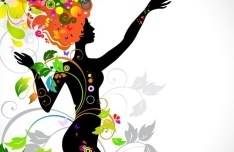 Vector Girl Silhouette with Colorful Floral Head 01
