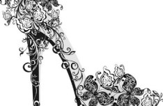 Creative Black Floral High-Heeled Shoes Vector