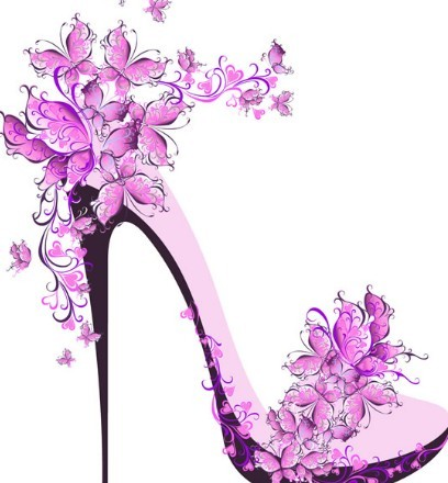 Creative Violet Floral High-Heeled Shoes Vector
