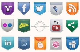 Funny Pockets Social Icon Set