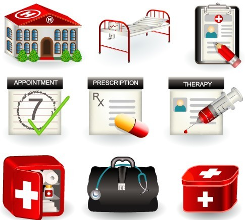 Vector 3D Medical Supplies Icons 02