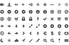 400+ Grey Glyph Icons Pack (PNG)