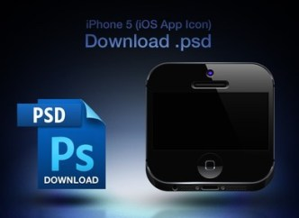 iPhone 5 Icon for iOS App PSD