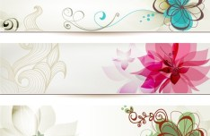 Set of Simple Hand Drawn Floral Banners Vector 03
