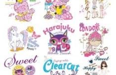 Sweet Cartoon Animals and People Vector Illustration