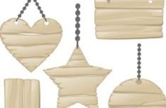 Vector Light Wooden Hang Tags Design