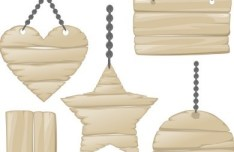 Vector Light Wooden Hang Tags Design