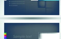 Dark Abstract Technology Business Cards Design Vector 01