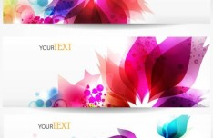 Elegant & Clean Vector Banner with Colored Flowers 05
