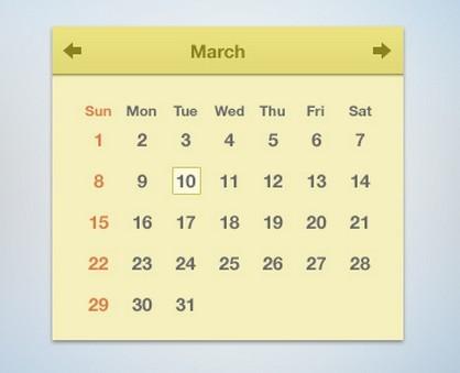 Sleek Flat Calendar PSD
