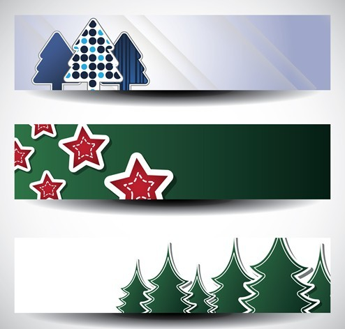Set Of Pine Tree and Star Banners Vector