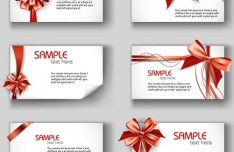Set of Simple Vector Card Templates with Bows and Ribbons 01