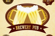 Set of Vector Premium Brewery Bar and Bear Labels 01