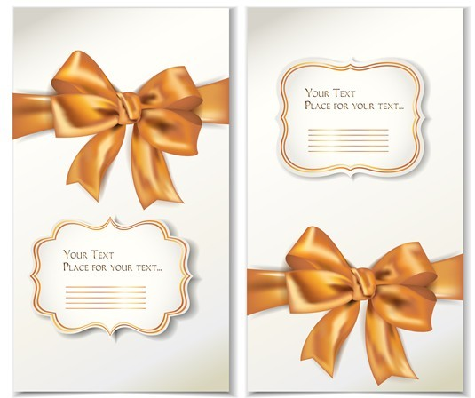 Free Vector Elegant Gift Card with Bow Design Template 02 - TitanUI