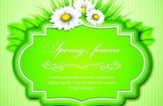 Spring Concept Green Floral Vector Frame 02