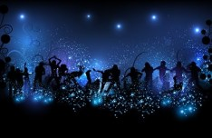 Vector Dancing People Shining Background 04