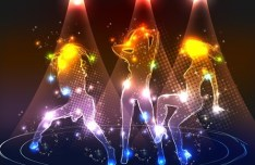 Vector Dancing People Shining Background 05